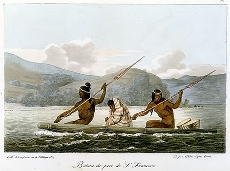 Ohlone Indians in a Tule Boat in the San Francisco Bay 1822, by Louis Choris