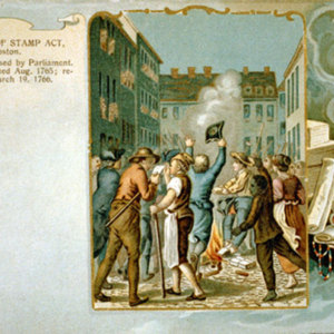 The burning of the Stamp Act in 1765