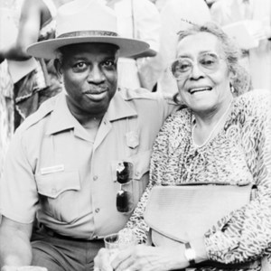 African American Park Ranger Sylvester Putman and Maggie Laura Walker Lewis at the July 14, 1985 opening ceremony for Maggie L. Walker National Historic Site
