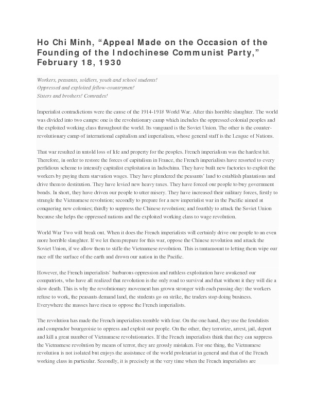 """Ho Chi Minh's """"Appeal Made on the Occasion of the Founding of the Indochinese Communist Party"""""""